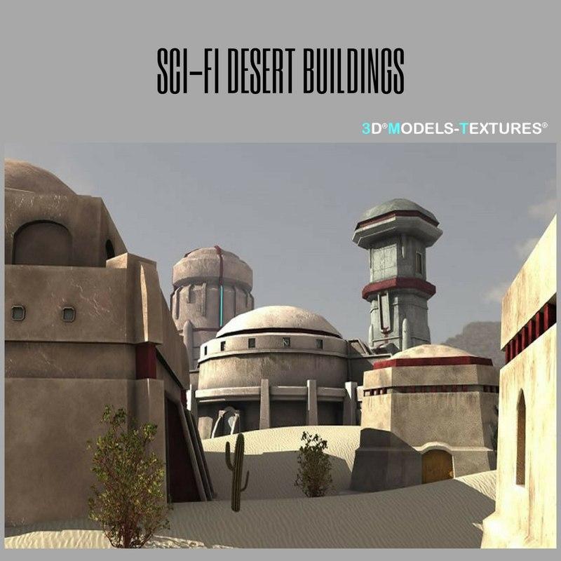 3D sci-fi desert buildings model