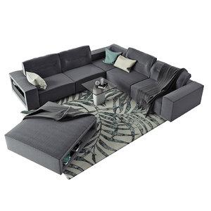 3D model interior boconcept hampton corner sofa
