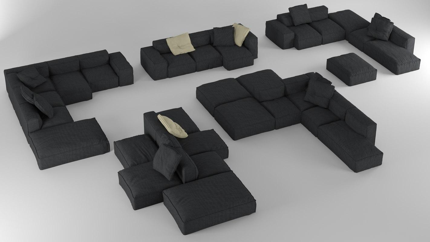 3D bonaldo peanut b01-b05 pillows model