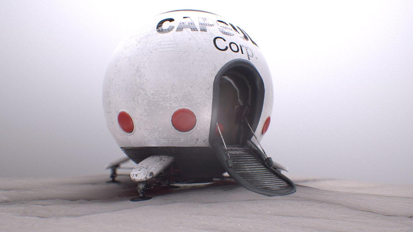 3D model capsule corporation spaceship