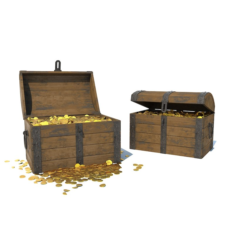 chest wood doubloons 3D