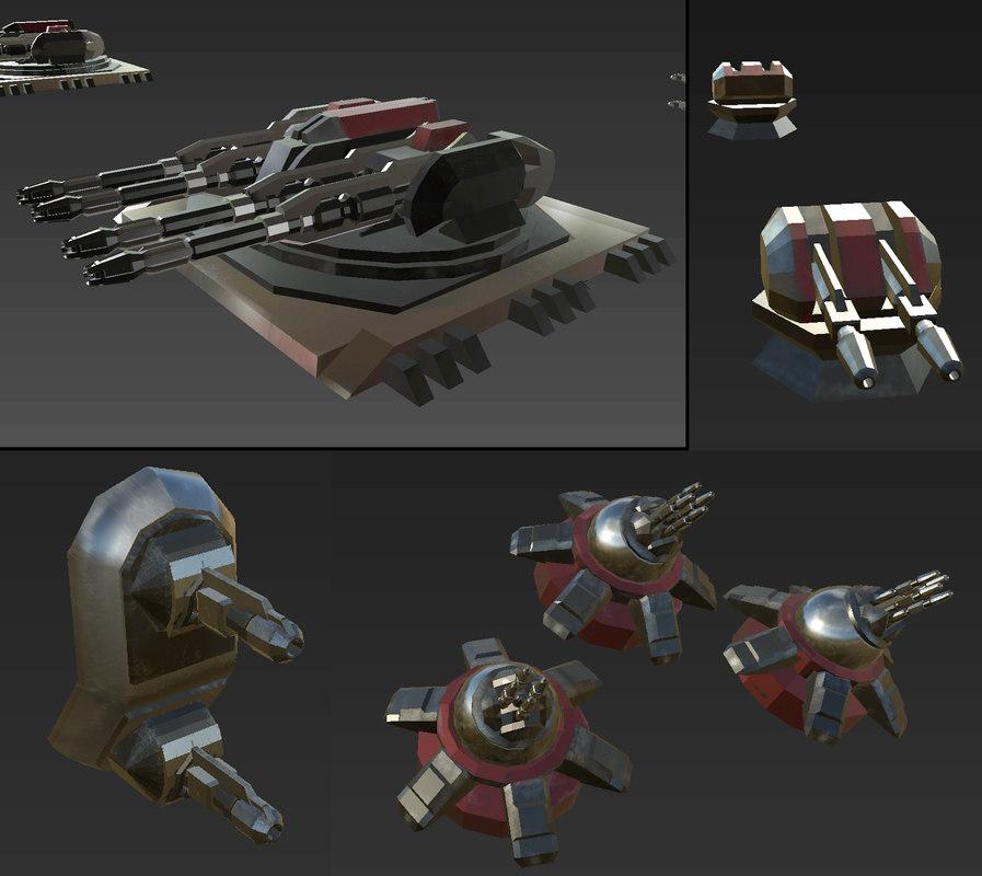 3D scifi turrets model