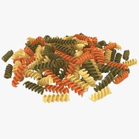 3D model realistic colorful spiral pasta