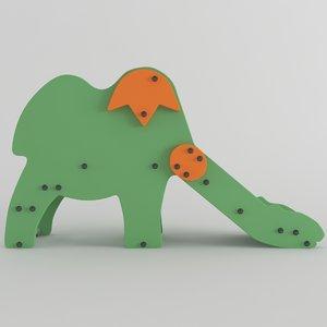 3D wood slide dinosaur