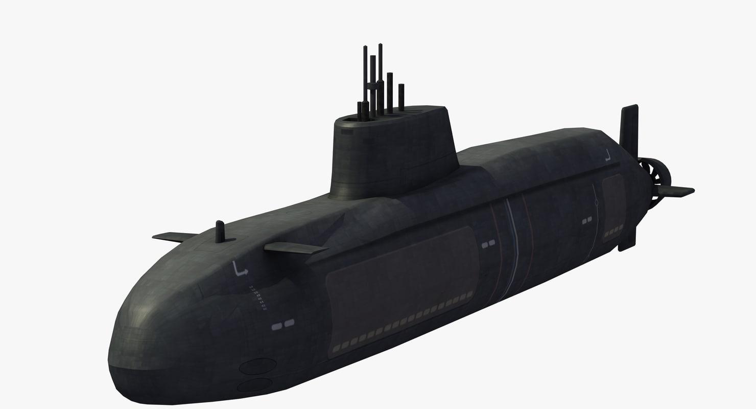 3D hms astute attack submarine