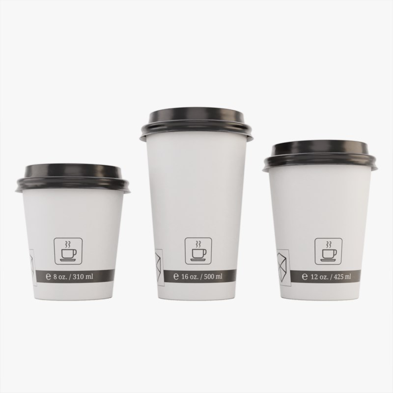3D takeout paper coffee cups model