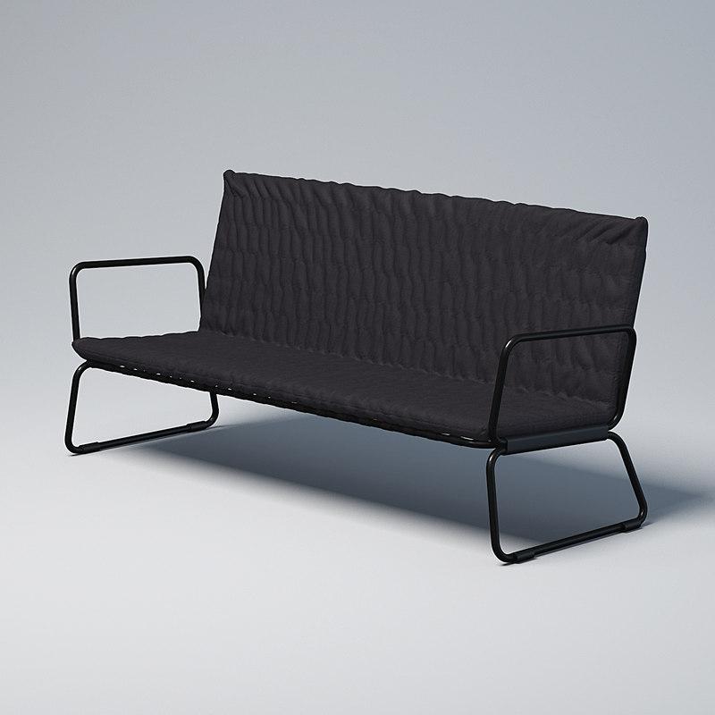 black sofa 3D model