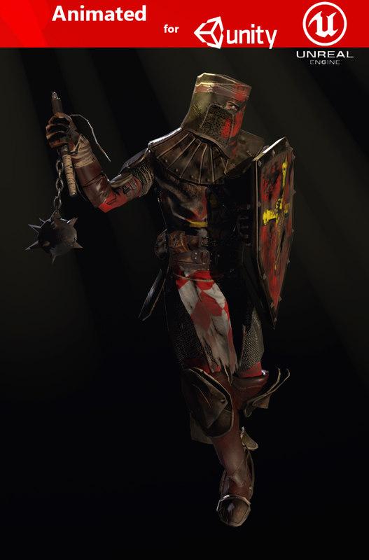 crusader knight 3D model
