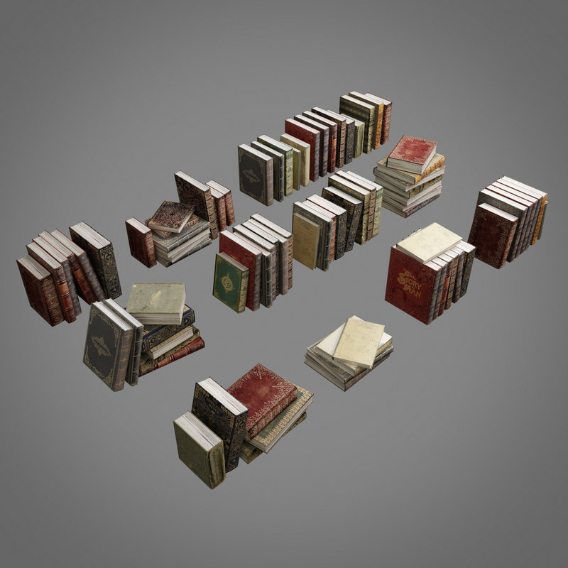 3D old books pack 001