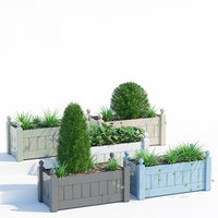 pots timber trough planter 3D model