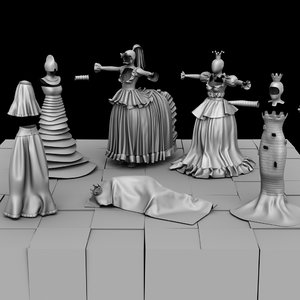 3D chessboards chess costumes model