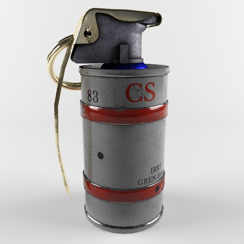 smoke grenade red 3D model