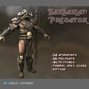 3D model barbarian predator