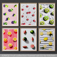 Fruit collection framed set-01 for kitchen
