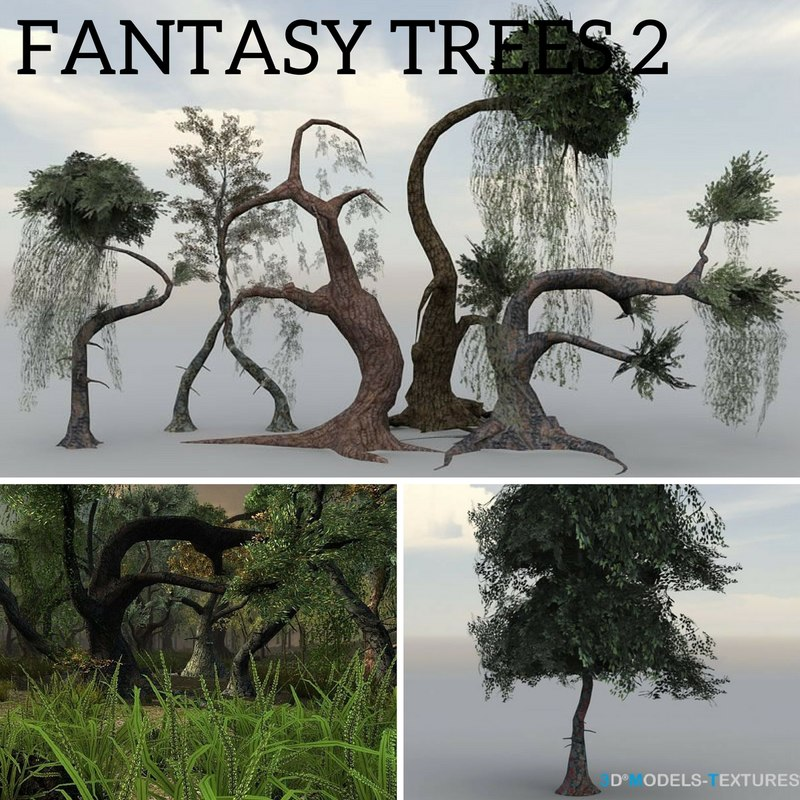 3D fantasy trees model