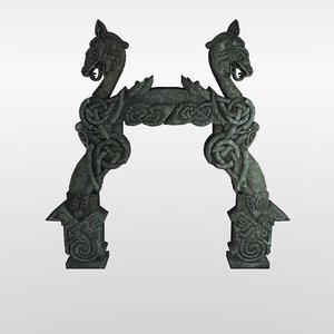 3D viking ancient stone