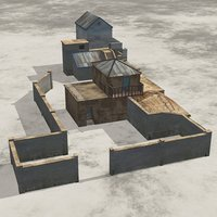 3D model large compound shanty town