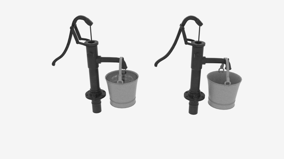 3D hand water pumper bucket