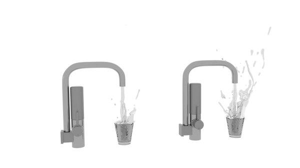 3D filter faucet splash model