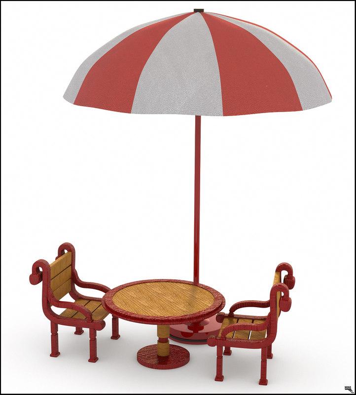 3D model table chair umbrella
