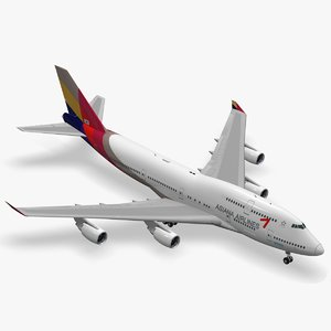 3D boeing 747-400 asiana airlines model