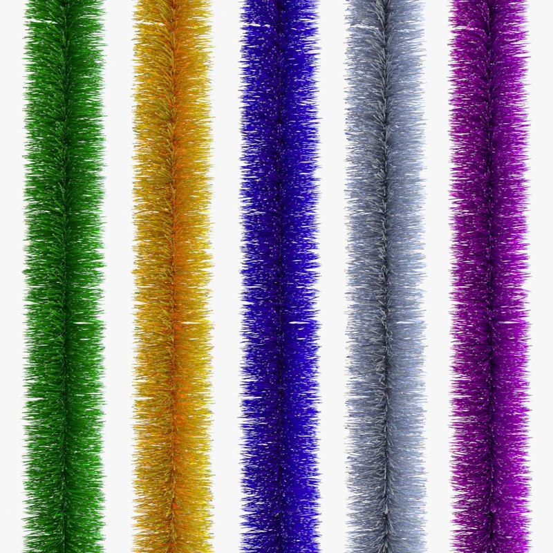 3D christmas tinsel set model