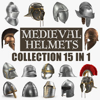 Medieval Helmets 3D Models Collection