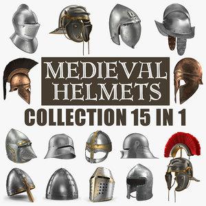 medieval helmets 3D model
