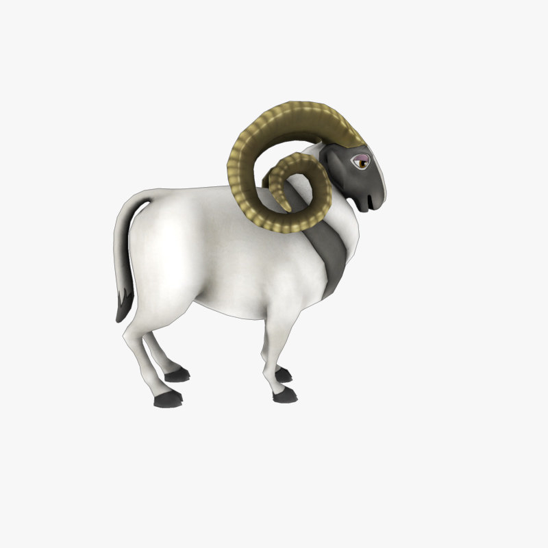 cartoon ram 3D model