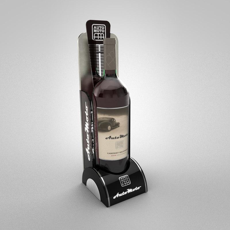 3D display automoto wine bottle