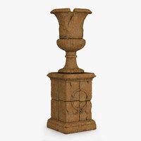 3D classic urn ruin 01 model