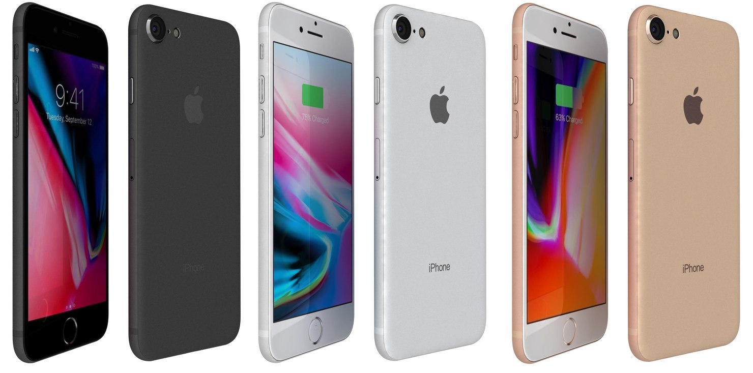 3D apple iphone 8 colors model
