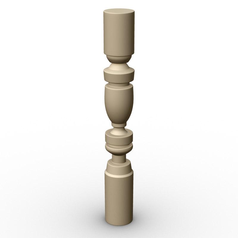 3D ornamental pillar model