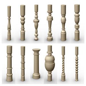 3D simple ornamental pillars model