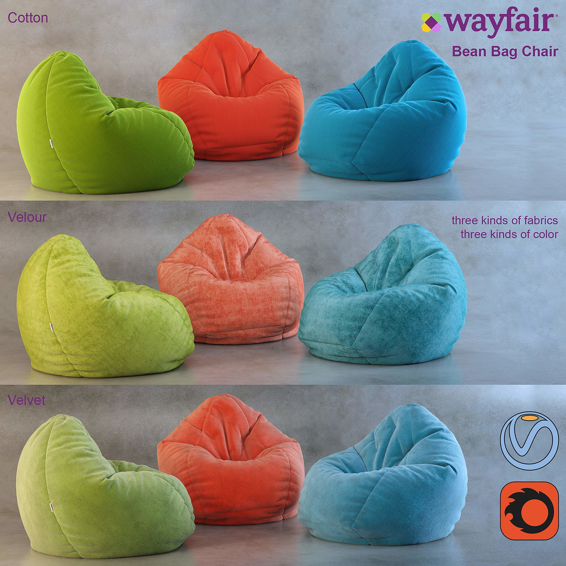 Awesome Bean Bag Chair Wayfair 3D Model Gmtry Best Dining Table And Chair Ideas Images Gmtryco