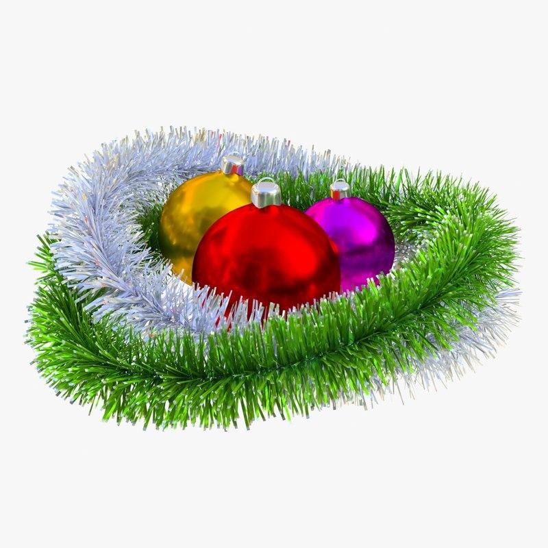 christmas balls tinsel 3D model