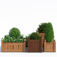 3D pots timber wood planter model
