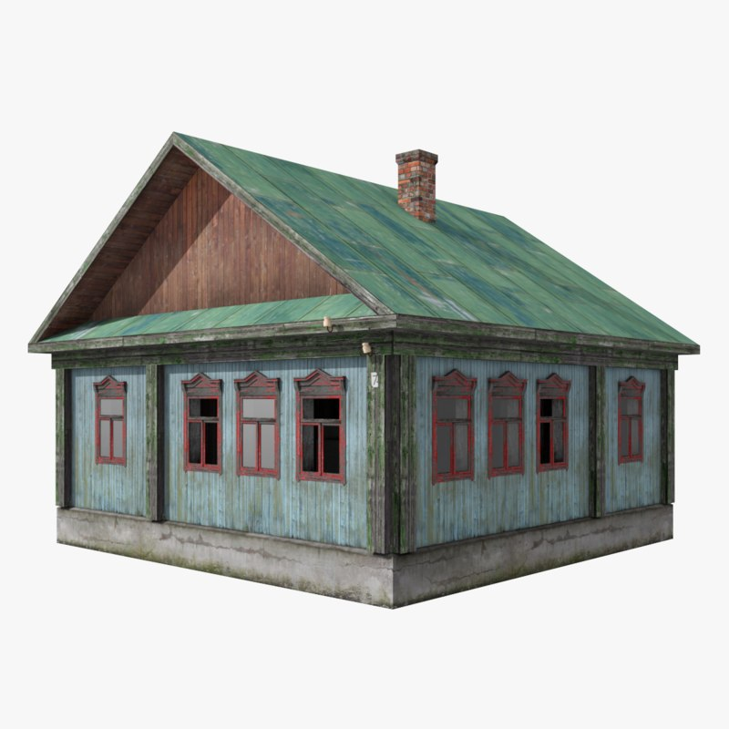 3D abandoned wooden house 5