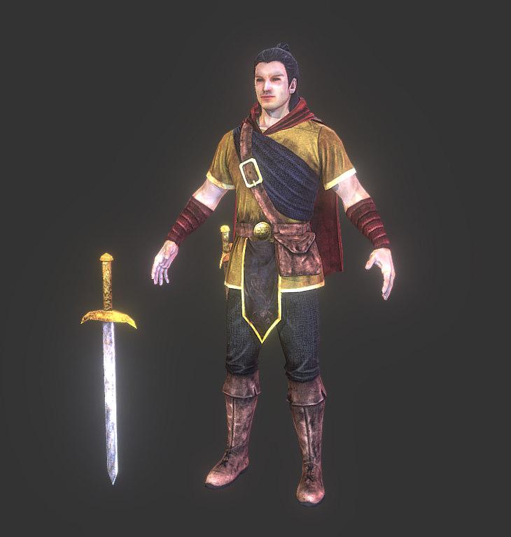 3D model medieval explorer hero