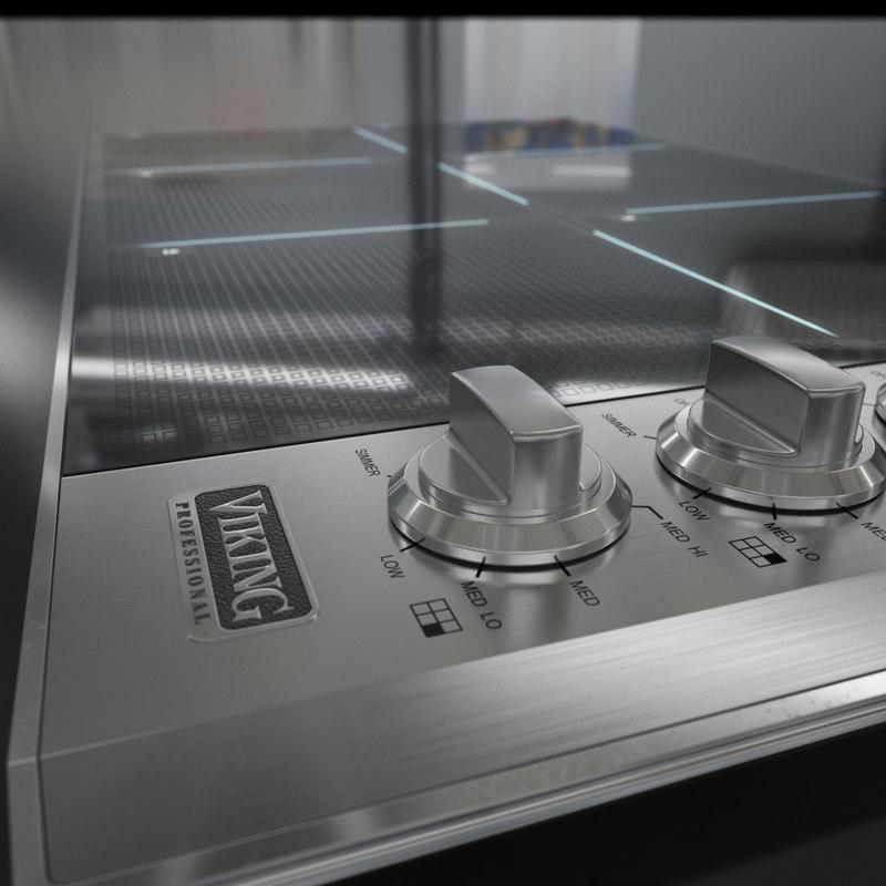 3D viking cooktop model