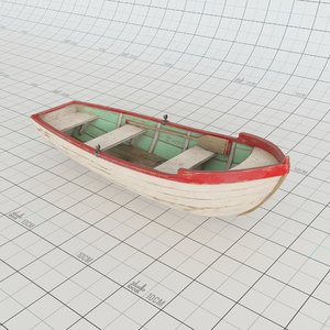 wooden dinghy boat 3D model