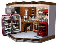 3D model kitchen interior