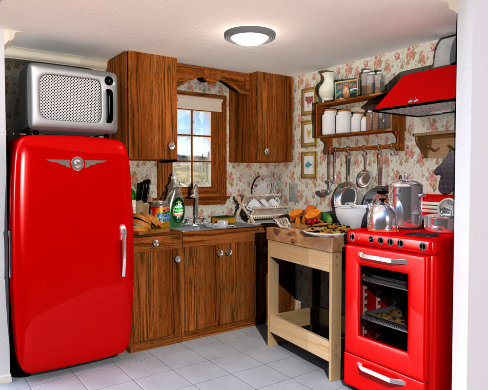 3D model kitchen interior - TurboSquid 1208989 on Kitchen Model Images  id=13122