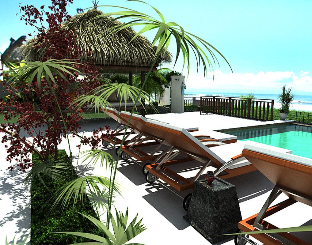 exterior resort area shot model