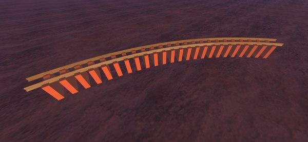 3D model 45 degree curve train track