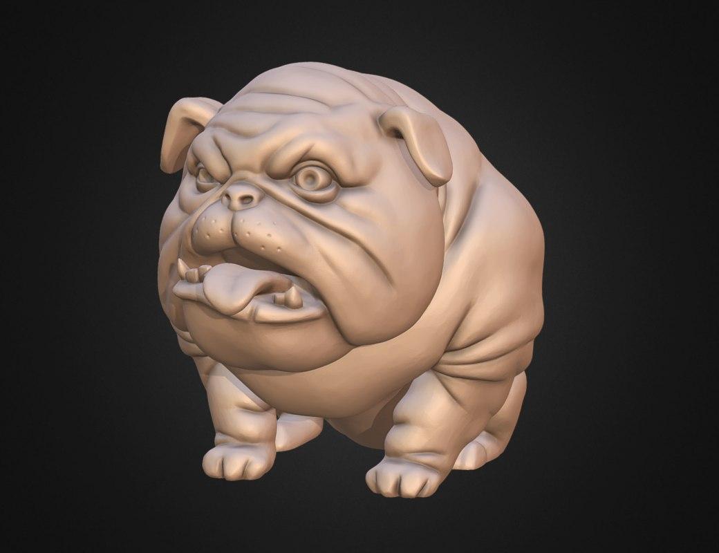 3D dog english bulldog stylized
