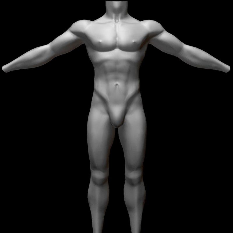 male body uv mapped 3D