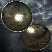 coin queen victoria 3D