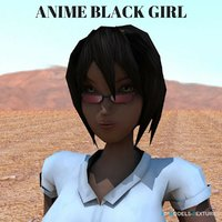 anime black girl 3D model