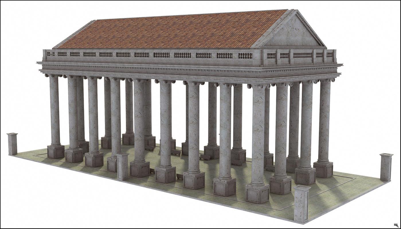 3D temple greek classic